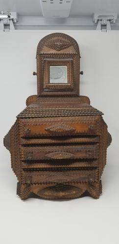 c1900 Tramp Art 3 drawer dresser with tilting mirror