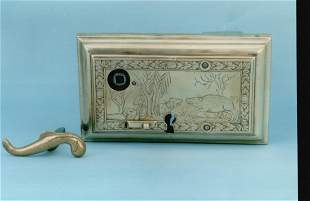Finely engraved door lock with hunting scene