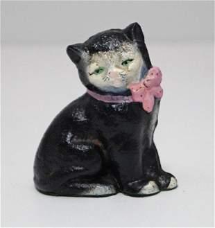 Antique Kitten w/ Bow Cat Cast Iron Hubley Paperweight