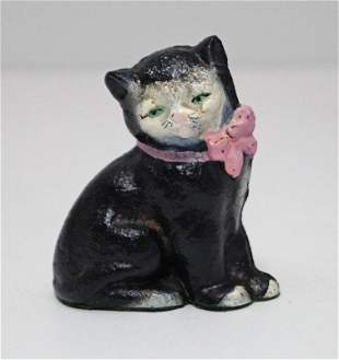 Antique Kitten w/ Bow Cat Cast Iron Hubley Paperweight