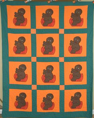 Rare Vintage African American Baby Quilt