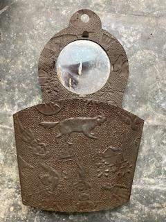 19thC Embossed Tin Mirror