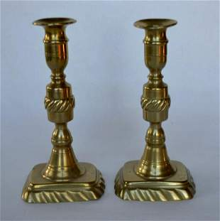 Pair Georgian Brass Candlesticks