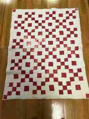 RED AND WHITE CHECKERBOARD CRIB QUILT