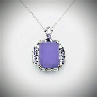 925 SS Necklace & Violet Jade Pendant w Amethyst & CZs
