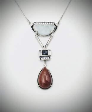 925 SS Necklace w Dangly Jasper, Jade, CZ & Black