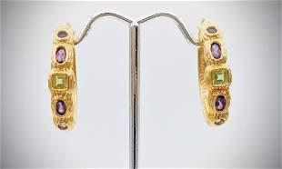 Amethyst & Peridot Hoop Earrings