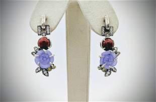 Cocktail Earrings w Rose Carved Violet Jade, Jasper &