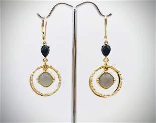 Double Circle Earrings w Black Onyx & Grey Moonstone