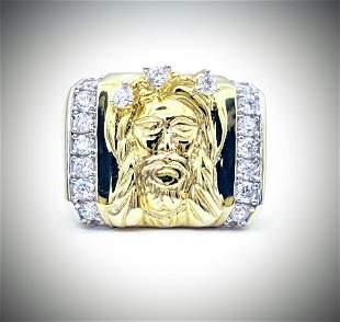 Gold Plated Sz 10 Jesus Ring w Cubic Zirconia