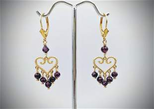 Heart Earrings w Amethyst Beads