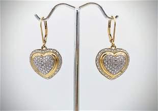 Heart Earrings w Diamonds