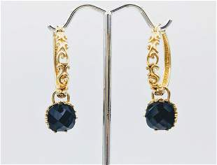 Hoop Earrings w Dangly Black Onyx