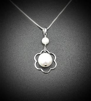 Italian Sterling Silver Necklace w Pearl Pendant