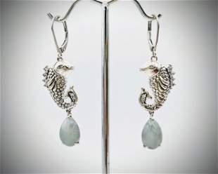 Koi Fish Designed Earrings w Jade & CZs