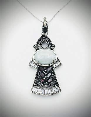 Necklace & Angel Pendant w Pyrope Garnet, Jade & CZs