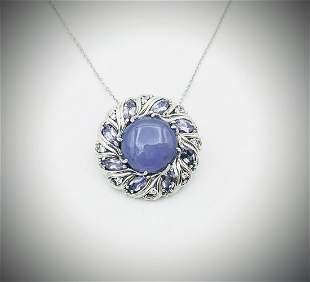 Necklace & Brooch or Pendant w Violet Jade, Amethyst &