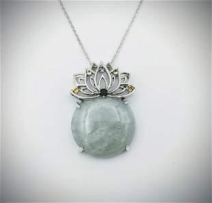 Sterling Silver Necklace & Jade w Multi Gemstone