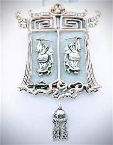Sterling Silver Necklace & Pendant w Jade & CZs