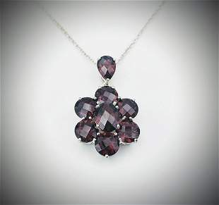 Sterling Silver Necklace w Red Garnet Pendant