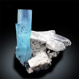 Aquamarine Specimen , Blue Aquamarine Crystal with
