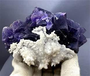 Natural Cubic Phantoms Fluorite Specimen With Calcite