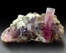 Tourmaline Crystal with Goshenite Beryl , Quartz ,