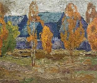 Oil painting Autumn landscape Lukin Alexander