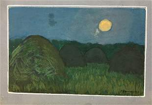 Watercolor painting Night landscape Tsyupka Ivan