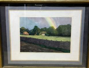Watercolor painting Landscape with a rainbow Tsyupka