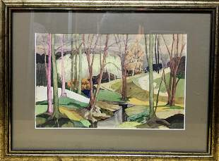 Watercolor painting Forest stream V. Olisevich