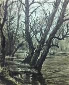Ink painting Winter landscape Alexander Georgievich