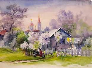Watercolor painting Spring Serdyuk Boris Petrovich