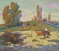 Oil painting River landscape Kalenyuk Alex