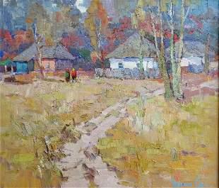 Oil painting Village landscape Kalenyuk Oksana