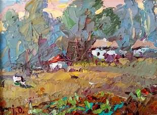 Oil painting Village edge Kalenyuk Alex