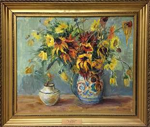 Oil painting Autumn flowers Kotlyar Taisiya