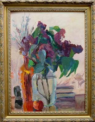 Oil painting Lilac bouquet Gantman Moses Faybovich