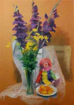 Pastel painting Still life with a clown Serdyuk Boris