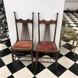 Antique Spindle Chairs 1800's (Pair)