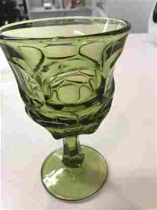 Fostoria Argus Green Wine Glasses (Set of 7)