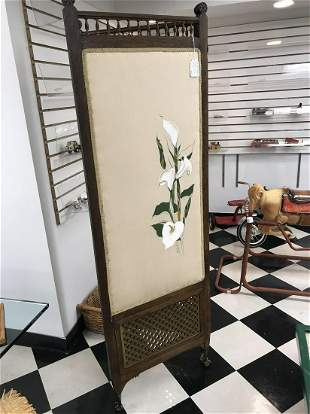 Lilly Screen with Brass Hardware & Oak 1970's