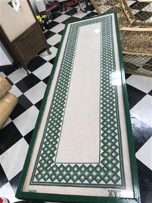 Green Wicker Long Table with Needlepoint Top