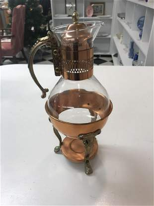 Copper and Crystal Tea Pot with Warmer