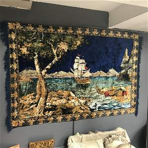 Ship Scene Wall Tapestry
