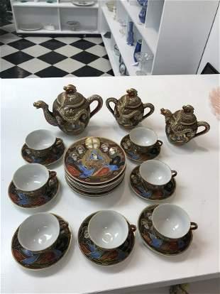 1940's Handpainted Shimazu Crest Satsuma Tea Set (25