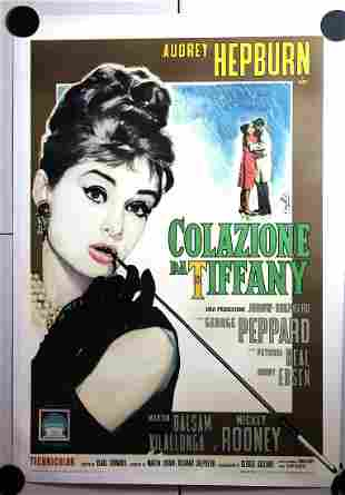 "Breakfast at Tiffany's (Italy, 1962) 39.5"" x 55"" Movie"