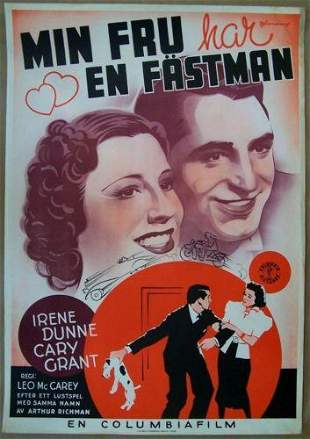 1937 Swedish Poster - The Awful Truth - Grant Cartoon