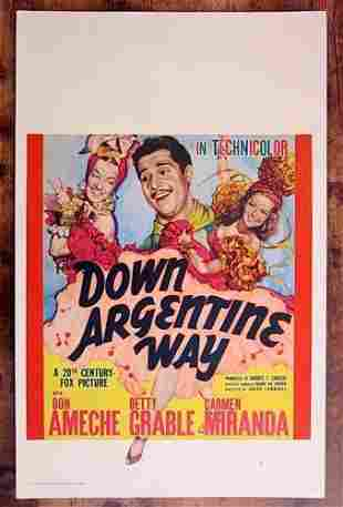 Down Argentine Way '40 Window Card Poster Rare Betty