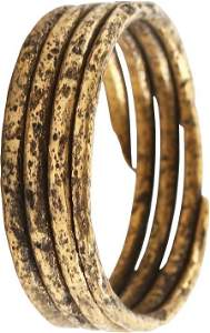 ANCIENT VIKING COIL RING 850-1050 AD SIZE 10 1/2